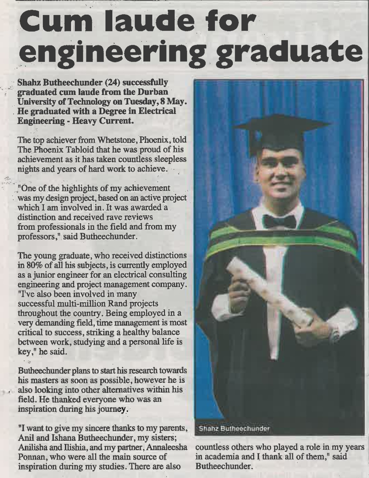 Shahz Butheechunder attains Cum Laude in Electrical Engineering HV